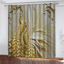 IZYLWZ 3D Gardinen Goldener Pfauendruck Blickdicht