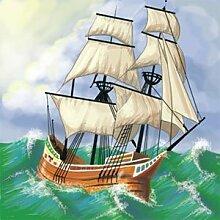 J Deko-Fliese mit Schiff, Keramik, 10,2 x 10,2 cm