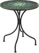 J-Line Gartentisch, rund, Mosaikplatte, Grün