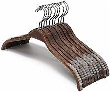 J.S. Hanger Elegante Kleiderbügel aus Holz mit soften rutschfesten Streifen für Mäntel und Hemden, Retro-Finish, 10 Stück