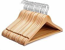 J. S. Hanger Multifunktionale Hochwertige Massivholz-Anzug Kleiderbügel, Naturfertig Kleiderbügel mit runden Bar, 20-pack