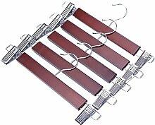 J.S. Kleiderbügel ™ Walnuss Holz Kleiderbügel, Rock Hosen Kleiderbügel mit Chrom Hardware, Walnuss Hartholz-Kleiderbügel, 5er Pack