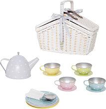 JaBaDaBaDo Tee-Set aus Blech im Picknickkorb