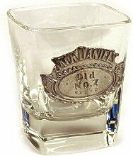 Jack Daniels Glas mit Zinn-Logo