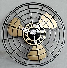 Jack Mall- 12 Zoll antike elektrische Ventilator-Wand-Taktgeber European-style Wand-Taktgeber-Retro- Ventilator-kreative chinesische stumme Wand-Taktgeber ( Farbe : Gold )