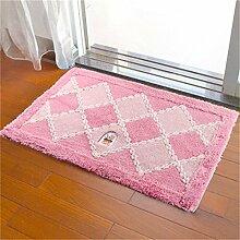 Jack Mall- Mats Fußmatte Vorraum Bad Toilette WC Fußmatte absorbierende Matte Badematte Teppich ( farbe : Pink )