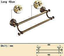 Jack Mall Retro Bad Hardware-Bad-Accessoires gesamten europäischen Kupfer antiken Bad Handtuchhalter Doppel bar Handtuchhalter hängen ( größe : 45 cm )