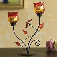 Jack Mall- Romantisches Candle-Light-Dinner Eisen Rose, Kerzenständer Kerzenhalter Ornamente kreative Glas europäischen Polstermöbel ( design : 101 )