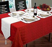 Jacquard gewebt kariert rot Tischdecke 152,4x 228,6cm 12weiß Servietten & 12weiß Tischsets