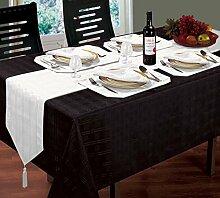 Jacquard gewebt kariert Schwarz Tischdecke 132,1x 177,8cm 8weiß Servietten & 8weiß Tischsets
