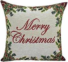 Jacquard Weihnachten Kissenbezug XMAS Kissenhülle (ohne Kissen) 45*45cm Merry christmas