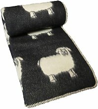 Jacquard Wolldecke 100% Schafschurwolle, schwarz, 130x200cm, Kuscheldecke, Schafmotiv