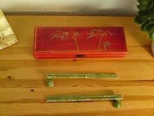 Jade Chopsticks in asiatischer Dekor Holzkiste,