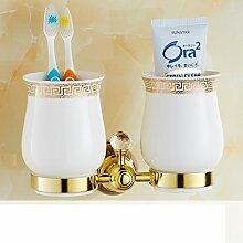 Jade Glashalter/Alle Kupfer vergoldete Marmordoppel Tasse Zahnbürste Becherhalter/Bad-Accessoires-A