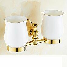 Jade Glashalter/Alle Kupfer vergoldete Marmordoppel Tasse Zahnbürste Becherhalter/Bad-Accessoires-D