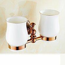 Jade Glashalter/Alle Kupfer vergoldete Marmordoppel Tasse Zahnbürste Becherhalter/Bad-Accessoires-C