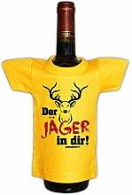 Jäger Mini T-Shirt Flaschen Shirt Hirschmotiv Jagd Geschenk Deko in gelb Jäger zum Geburtstag : )