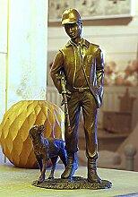 Jäger mit Hund, Bronzefigur