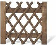 Jägerzaun Tor / Gartenpforte für Jägerzäune Lattenzaun im Maß 100 x 100 cm (Breite x Höhe) aus Kiefer/Fichte Holz mit brauner Druckimprägnierung