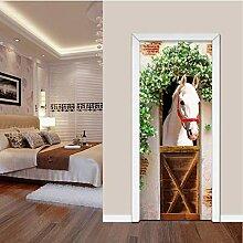 JAG White Horse Fototapete Tür Aufkleber DIY PVC