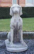 Jagdhund, Stein, Gartenfigur, Steinfigur, Steinhund, stone dog Farbe rostfarben