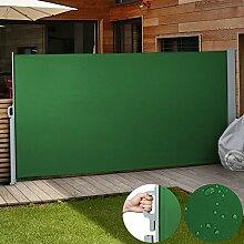 Jago Seitenmarkise Sonnenschutz Sichtschutz Windschutz (Farbwahl/Größenwahl) Seitenrollo Markise Balkon Terrasse (grün / 180x300 cm)