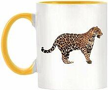 Jaguar Bild Design zweifarbig Becher mit gelb Griff & Innen