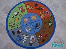 Jahreszeiten HEVO® Teppich | Spielteppich Kinderteppich 133 cm Ø Rund Oeko-Tex 100