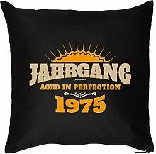 JAHRGANG 1975 : Kissen mit Füllung - Witziges Zusatzkissen, Kuschelkissen, 40x40 als Geschenkidee. Schwarz