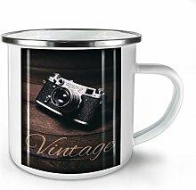 Jahrgang Foto Kamera Weiß Emaille-Becher 10 oz | Wellcoda