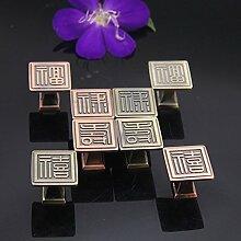 Jahrgang im chinesischen Stil Bronze Legierung Türgriffe Home Küche Schuhschrank Schrank Schrank Schubladengriffe Knöpfe Möbelbeschläge, Rot Bronze