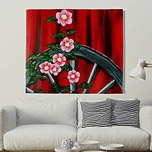 Jahrgang Rad mit Rot Blumenmalerei Wandteppich