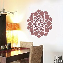 Jaipur Mandala Schablone buddhistisch Symbol wiederverwendbar Heim Wand Dekor , Kunst & Handwerk Schablone Wandfarbe Stoffe & Möbel - semi transparent Schablone, M/ 25X25CM