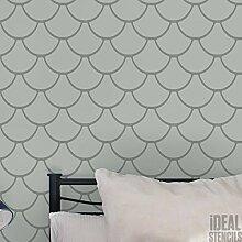 Jakobsmuschel, Fisch Skala Muster Schablone Heim Wand Dekor Muster Kunst & Basteln Schablone Farbe Wände Stoffe & Möbel 190 Mylar wiederverwendbar Schablone