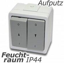 Jalousietaster Rolladentaster Doppelwippe IP44 mit Tastfunktion Feuchtraum spritzwassergeschützt Aufputz System: Stera