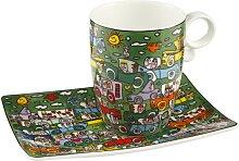James Rizzi Pop Art Tasse, Becher mit Untertasse