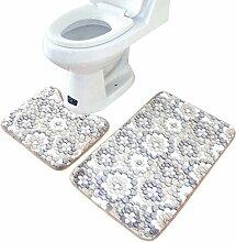 Jamicy® 2Pcs/Set Anti-Rutsch Coral Fleece Boden Teppich Set Blume Kunst Badteppiche + Badematte (Beige)