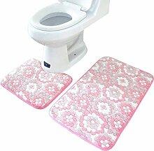 Jamicy® 2Pcs/Set Anti-Rutsch Coral Fleece Boden Teppich Set Blume Kunst Badteppiche + Badematte (Rosa)