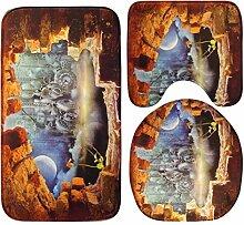Jamicy® 3Pcs/Set Anti-Rutsch Blue Ocean Art Sockel Badteppiche + Deckel Toilette decken + Badematte (C)