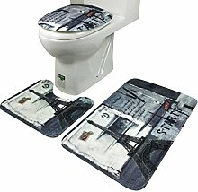 Jamicy® 3Pcs/Set Anti-Rutsch Blue Ocean Art Sockel Badteppiche + Deckel Toilette decken + Badematte (Gray)