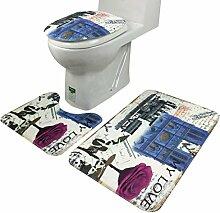 Jamicy® 3Pcs/Set Anti-Rutsch Blue Ocean Art Sockel Badteppiche + Deckel Toilette decken + Badematte (Blau)