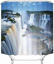Jamicy® Badezimmer Waschbar 150x180cm Duschvorhang Anti-Schimmel wasserdicht Polyester Duschvorhänge mit 12 Haken (C)