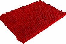 Jamicy® Soft Shaggy Antirutsch saugfähig Badematte Bad Dusche Teppiche Teppich 50*80cm (Rot)