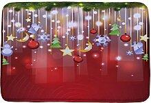 Jamicy® Weihnachten HD bedruckte rutschfeste Badematte Badematte Badezimmer Dusche Teppiche Absorbent Home Decor (A2)