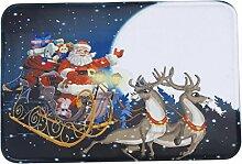 Jamicy® Weihnachten HD bedruckte rutschfeste Badematte Badematte Badezimmer Dusche Teppiche Absorbent Home Decor (C)