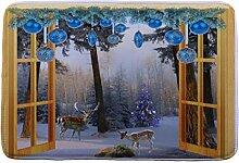Jamicy® Weihnachten HD bedruckte rutschfeste Badematte Badematte Badezimmer Dusche Teppiche Absorbent Home Decor (C2)