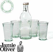 Jamie Oliver Wasser Karaffe + 4Wasser Gläser