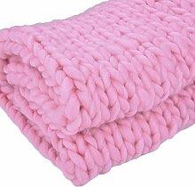 Jannyshop Handgefertigt Wolldecke Wolle Sticken Decke Kuscheldecken Knitted Blanket Super Warm im Winter Zuhause Dekor Geschenk 1M*0,8M/1M*1,2M/1,5*1,2M (Rosa, 120cm * 150cm)