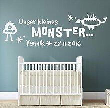 japalo® 130x39cm pkm207 Wandtattoo Kinderzimmer Baby Geburt Wandtattoo Jungen Geburtsdaten unser kleines Monster Datum Name Wunschname