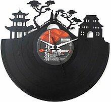 Japan Geschenkidee Vinyl Schallplatten-Uhr Schwarz Vinyluse original